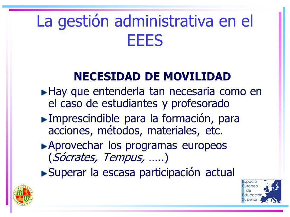 La gestión administrativa en el EEES NECESIDAD DE MOVILIDAD Hay que entenderla tan necesaria como en el caso de estudiantes y profesorado Imprescindib