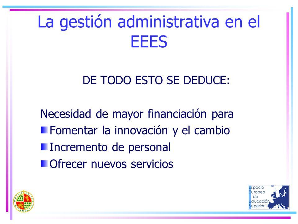 La gestión administrativa en el EEES DE TODO ESTO SE DEDUCE: Necesidad de mayor financiación para Fomentar la innovación y el cambio Incremento de per