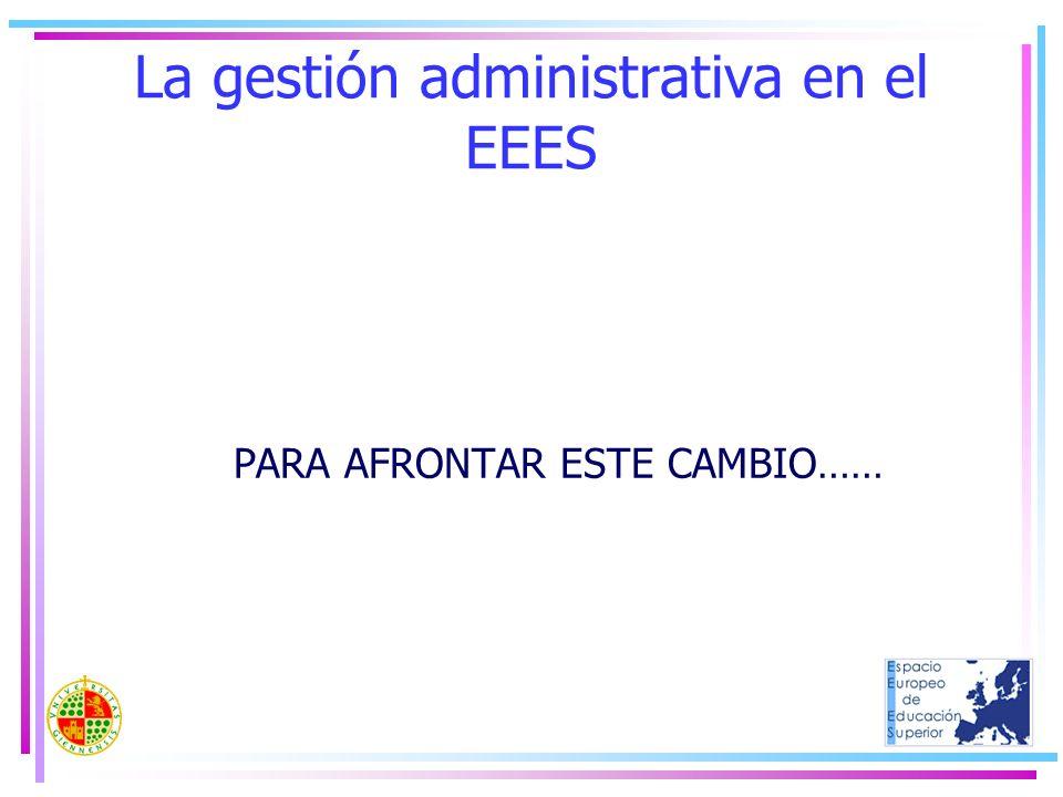 La gestión administrativa en el EEES PARA AFRONTAR ESTE CAMBIO……