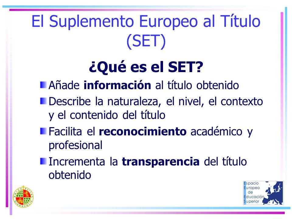 El Suplemento Europeo al Título (SET) ¿Qué es el SET? Añade información al título obtenido Describe la naturaleza, el nivel, el contexto y el contenid