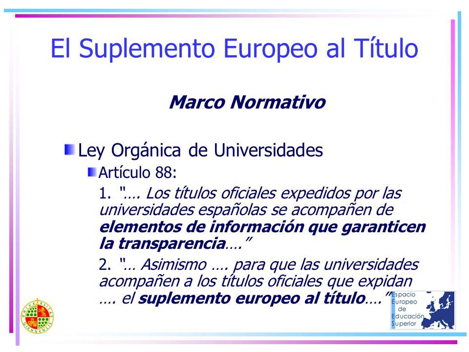 El Suplemento Europeo al Título Marco Normativo Ley Orgánica de Universidades Artículo 88: 1. …. Los títulos oficiales expedidos por las universidades