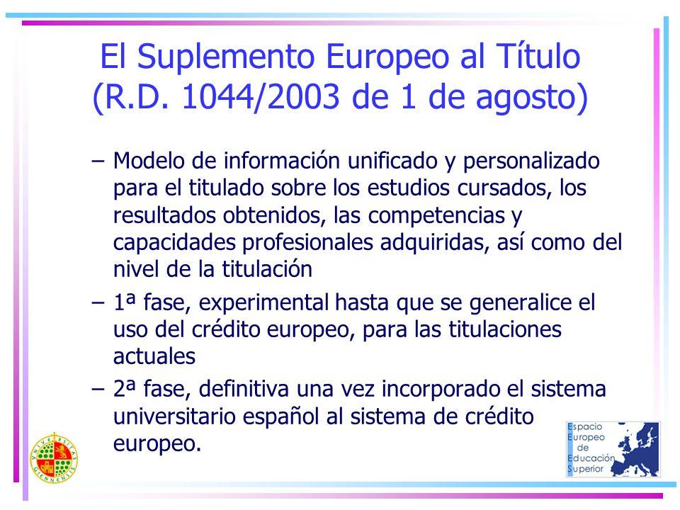 El Suplemento Europeo al Título (R.D. 1044/2003 de 1 de agosto) –Modelo de información unificado y personalizado para el titulado sobre los estudios c