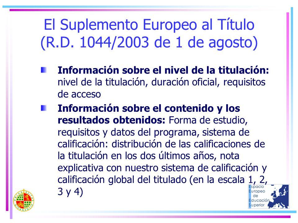 El Suplemento Europeo al Título (R.D. 1044/2003 de 1 de agosto) Información sobre el nivel de la titulación: nivel de la titulación, duración oficial,