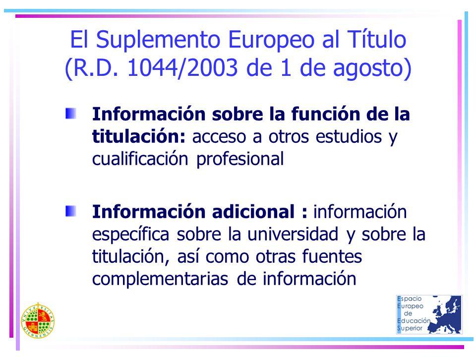 El Suplemento Europeo al Título (R.D. 1044/2003 de 1 de agosto) Información sobre la función de la titulación: acceso a otros estudios y cualificación