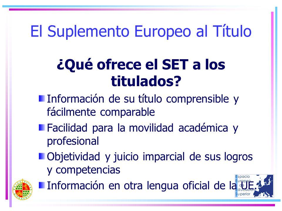 El Suplemento Europeo al Título ¿Qué ofrece el SET a los titulados? Información de su título comprensible y fácilmente comparable Facilidad para la mo