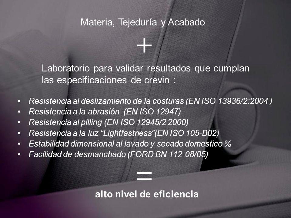Resistencia al deslizamiento de la costuras (EN ISO 13936/2:2004 ) Resistencia a la abrasión (EN ISO 12947) Resistencia al pilling (EN ISO 12945/2 200