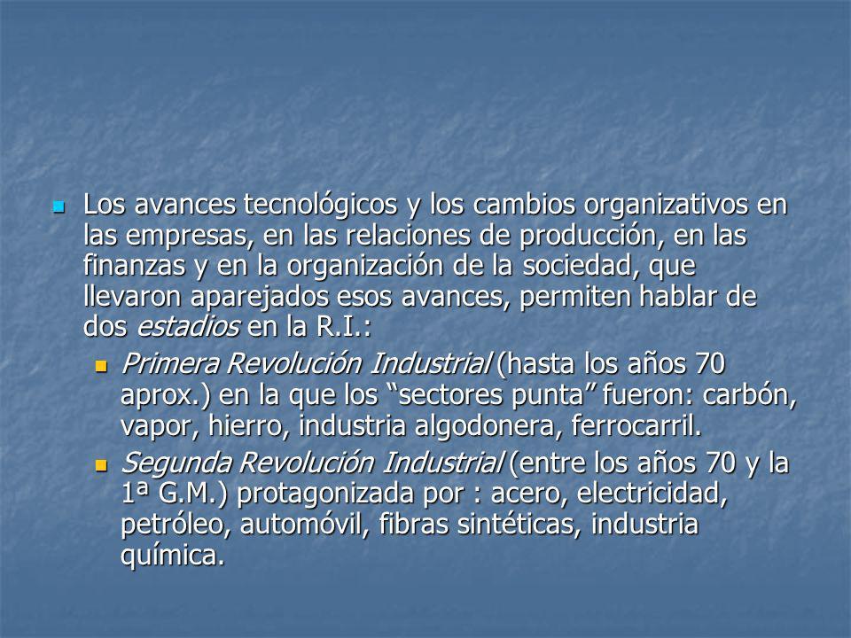 Los avances tecnológicos y los cambios organizativos en las empresas, en las relaciones de producción, en las finanzas y en la organización de la soci