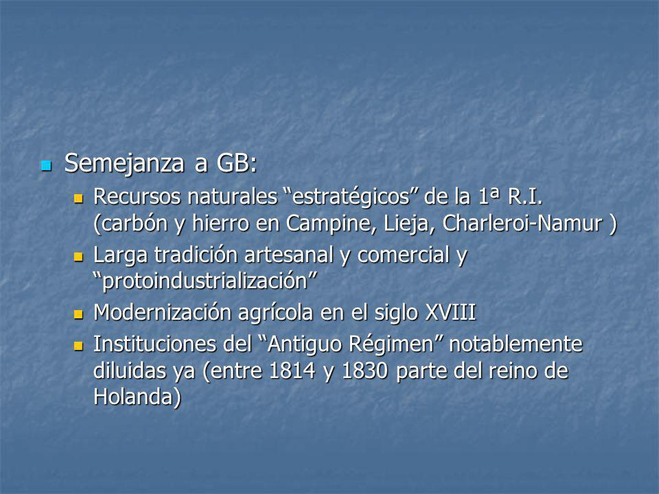Semejanza a GB: Semejanza a GB: Recursos naturales estratégicos de la 1ª R.I. (carbón y hierro en Campine, Lieja, Charleroi-Namur ) Recursos naturales