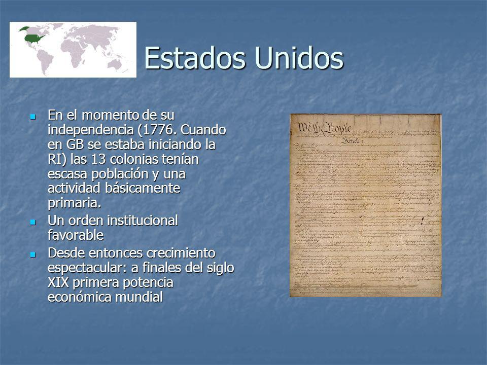 Estados Unidos En el momento de su independencia (1776. Cuando en GB se estaba iniciando la RI) las 13 colonias tenían escasa población y una activida