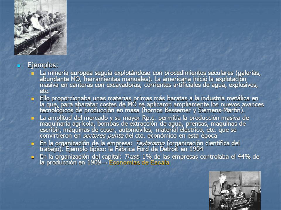 Ejemplos: Ejemplos: La minería europea seguía explotándose con procedimientos seculares (galerías, abundante MO, herramientas manuales). La americana