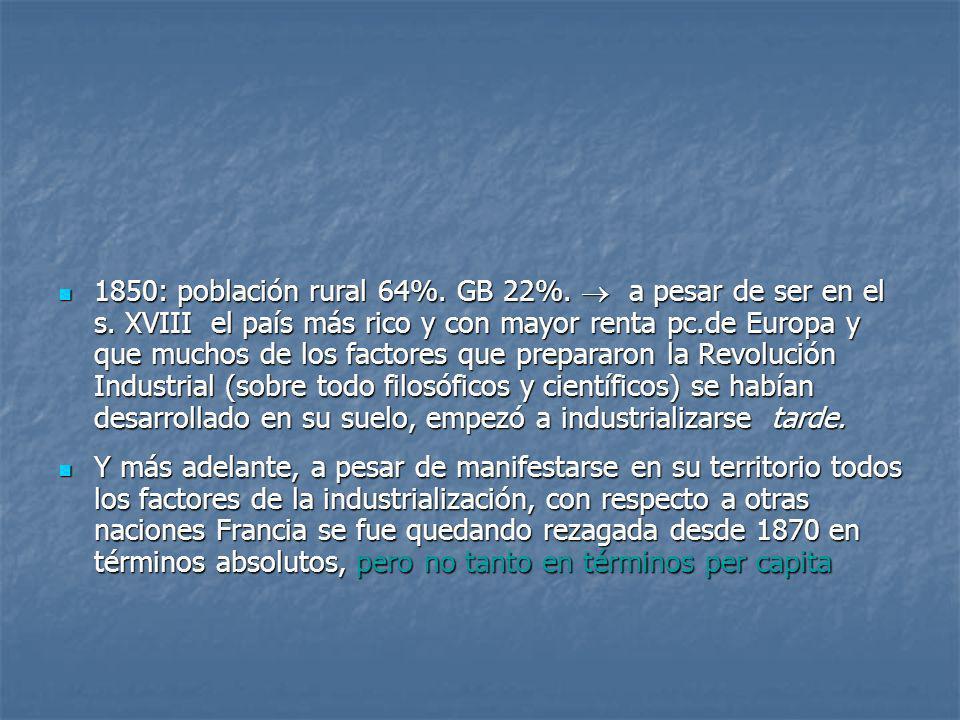 1850: población rural 64%. GB 22%. a pesar de ser en el s. XVIII el país más rico y con mayor renta pc.de Europa y que muchos de los factores que prep