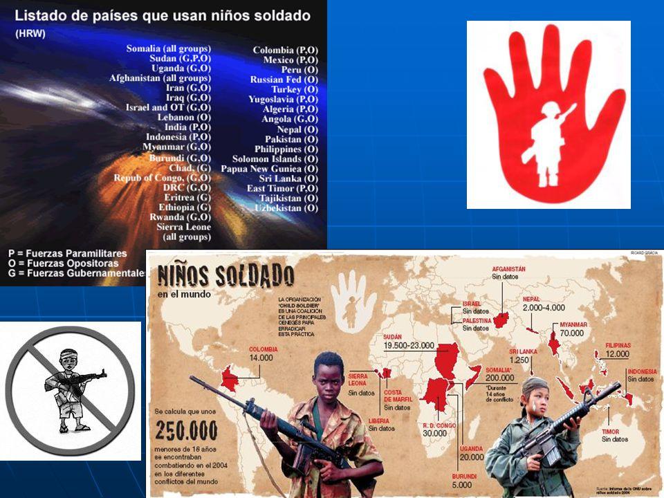 Hay unos 300.000 niños, menores de 18 años, en 50 naciones que sirven como soldados regulares. Los países con mayor número son: Afganistán, Birmania,