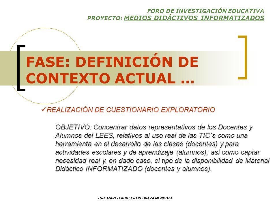 FORO DE INVESTIGACIÓN EDUCATIVA PROYECTO: MEDIOS DIDÁCTIVOS INFORMATIZADOS ING. MARCO AURELIO PEDRAZA MENDOZA FASES DE DESARROLLO DEFINICIÓN DEL CONTE