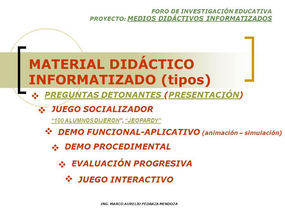 FORO DE INVESTIGACIÓN EDUCATIVA PROYECTO: MEDIOS DIDÁCTIVOS INFORMATIZADOS ING. MARCO AURELIO PEDRAZA MENDOZA MATERIAL DIDÁCTICO INFORMATIZADO (tipos)