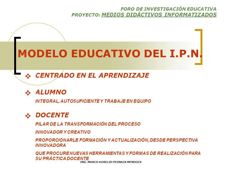 FORO DE INVESTIGACIÓN EDUCATIVA PROYECTO: MEDIOS DIDÁCTIVOS INFORMATIZADOS ING. MARCO AURELIO PEDRAZA MENDOZA CONTEXTO INSTITUCIONAL PROGRAMA DE DESAR