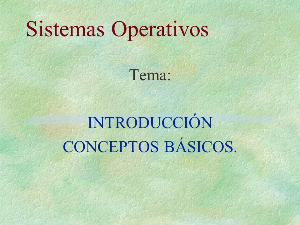 Sistemas Operativos Tema: INTRODUCCIÓN CONCEPTOS BÁSICOS.