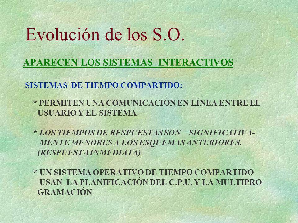 Evolución de los S.O.