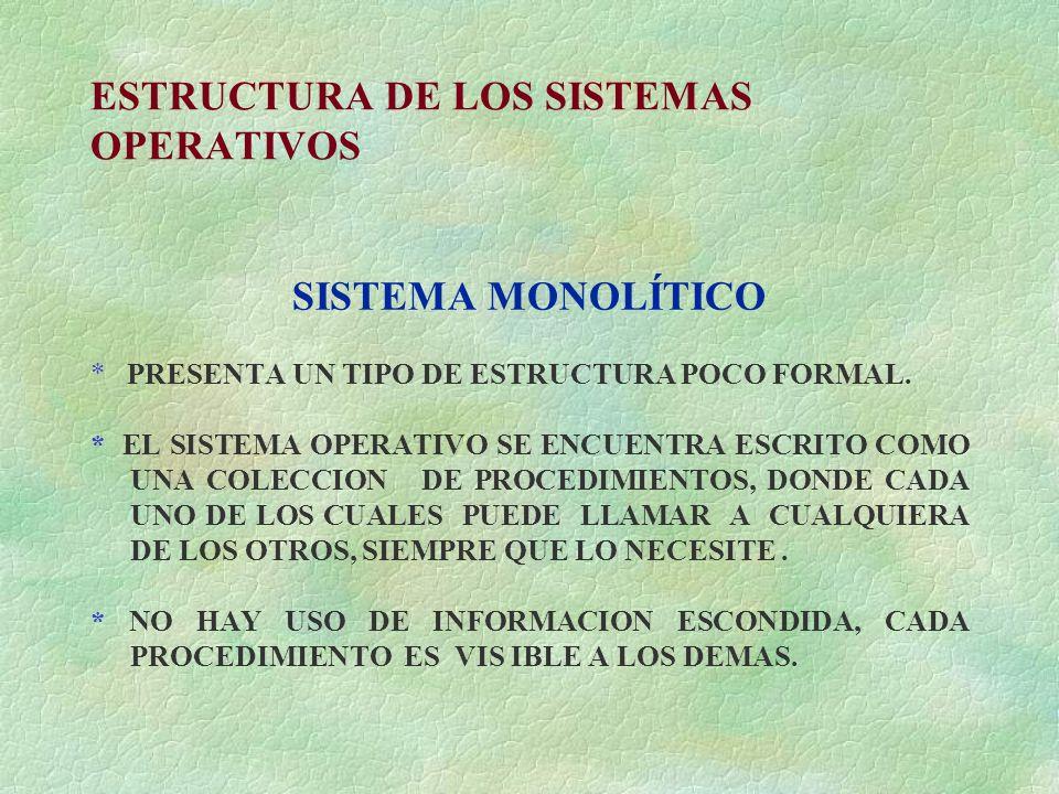 ESTRUCTURA DE LOS SISTEMAS OPERATIVOS SISTEMA MONOLÍTICO * PRESENTA UN TIPO DE ESTRUCTURA POCO FORMAL. * EL SISTEMA OPERATIVO SE ENCUENTRA ESCRITO COM