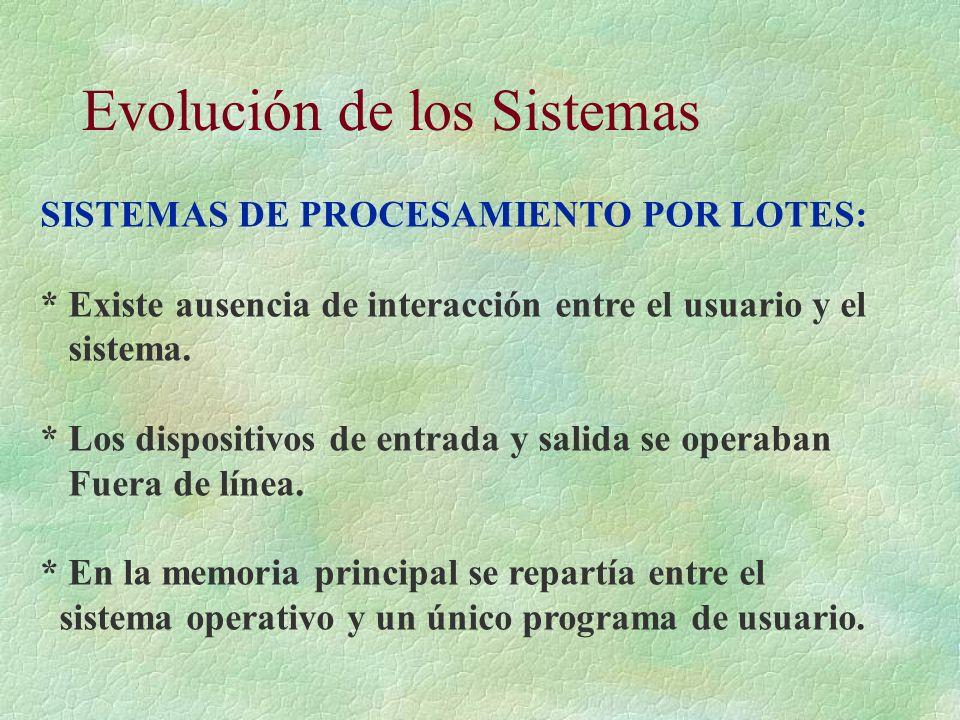 Evolución de los Sistemas SISTEMAS DE PROCESAMIENTO POR LOTES: * Existe ausencia de interacción entre el usuario y el sistema. * Los dispositivos de e