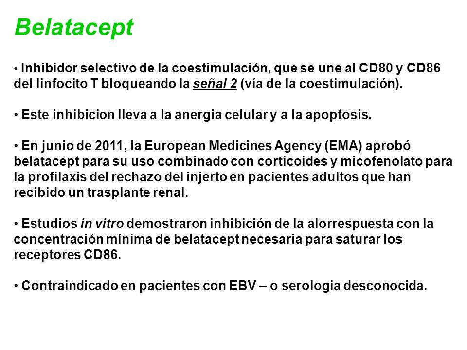 Belatacept Inhibidor selectivo de la coestimulación, que se une al CD80 y CD86 del linfocito T bloqueando la señal 2 (vía de la coestimulación). Este