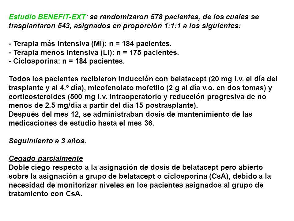 Estudio BENEFIT-EXT: se randomizaron 578 pacientes, de los cuales se trasplantaron 543, asignados en proporción 1:1:1 a los siguientes: - Terapia más