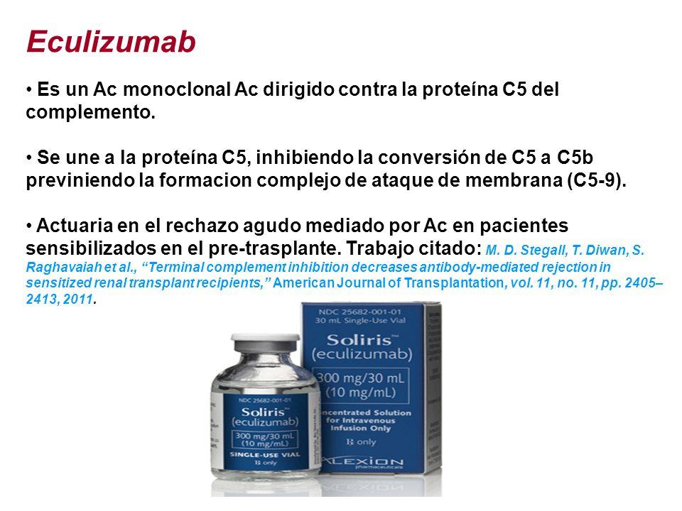 Eculizumab Es un Ac monoclonal Ac dirigido contra la proteína C5 del complemento. Se une a la proteína C5, inhibiendo la conversión de C5 a C5b previn