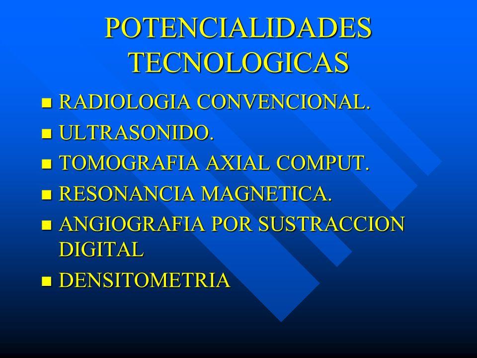POTENCIALIDADES TECNOLOGICAS RADIOLOGIA CONVENCIONAL. RADIOLOGIA CONVENCIONAL. ULTRASONIDO. ULTRASONIDO. TOMOGRAFIA AXIAL COMPUT. TOMOGRAFIA AXIAL COM