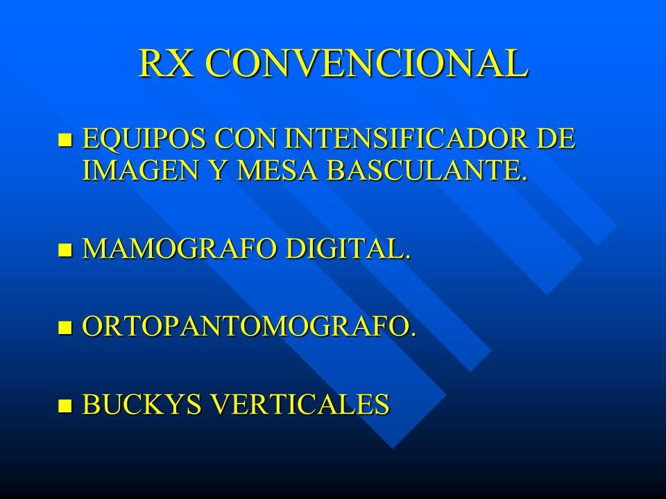 RX CONVENCIONAL EQUIPOS CON INTENSIFICADOR DE IMAGEN Y MESA BASCULANTE. EQUIPOS CON INTENSIFICADOR DE IMAGEN Y MESA BASCULANTE. MAMOGRAFO DIGITAL. MAM