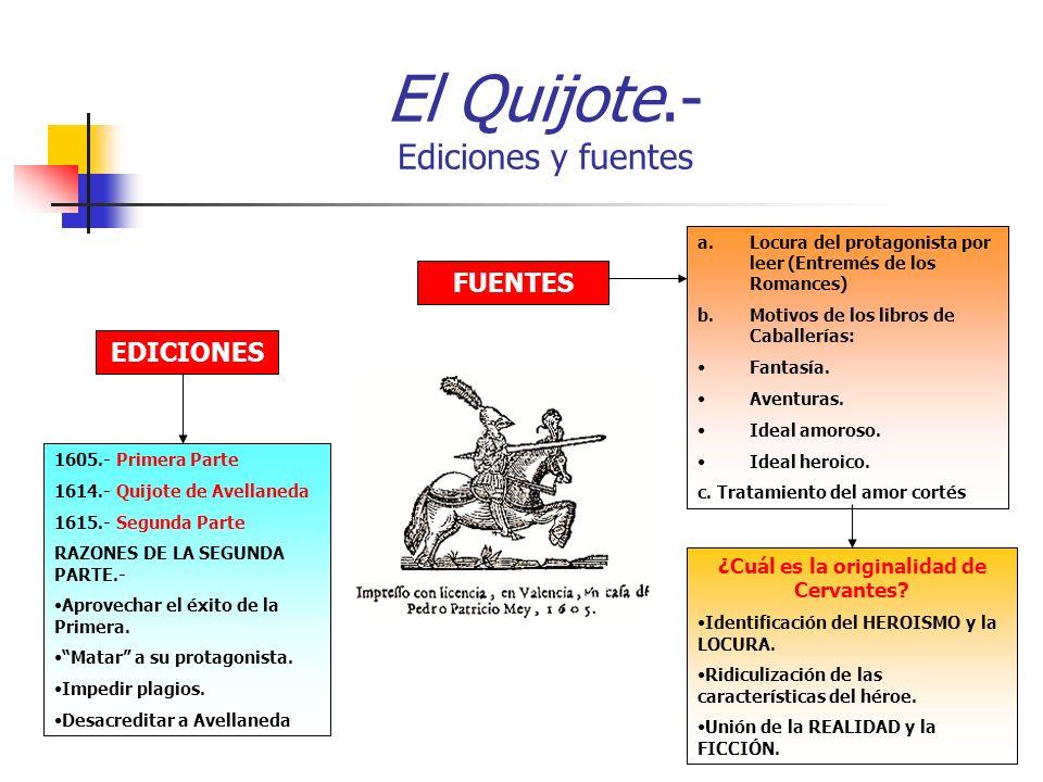 El Quijote.- Ediciones y fuentes EDICIONES FUENTES 1605.- Primera Parte 1614.- Quijote de Avellaneda 1615.- Segunda Parte RAZONES DE LA SEGUNDA PARTE.- Aprovechar el éxito de la Primera.