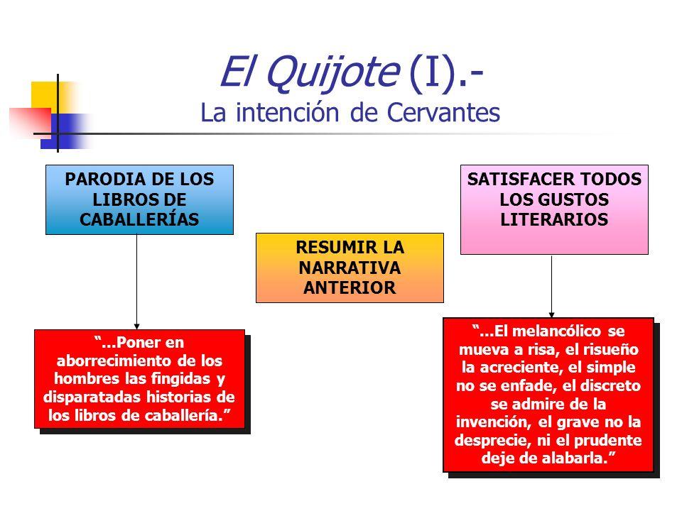El Quijote (I).- La intención de Cervantes...Poner en aborrecimiento de los hombres las fingidas y disparatadas historias de los libros de caballería....El melancólico se mueva a risa, el risueño la acreciente, el simple no se enfade, el discreto se admire de la invención, el grave no la desprecie, ni el prudente deje de alabarla.