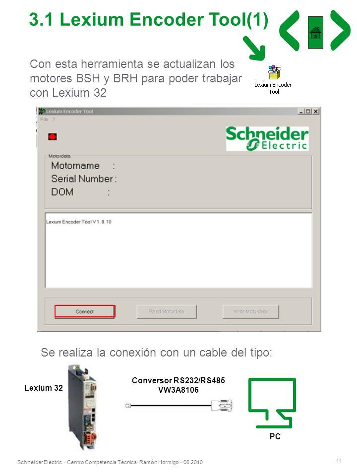 11 Schneider Electric - Centro Competencia Técnica- Ramón Hormigo – 06.2010 Con esta herramienta se actualizan los motores BSH y BRH para poder trabaj