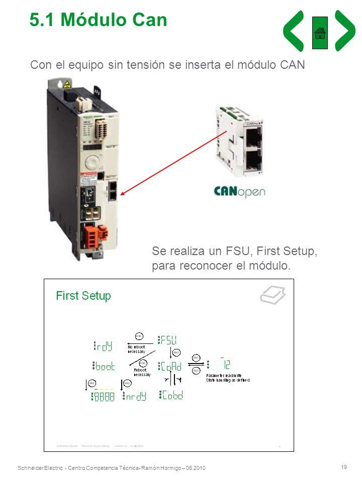 19 Schneider Electric - Centro Competencia Técnica- Ramón Hormigo – 06.2010 Con el equipo sin tensión se inserta el módulo CAN Se realiza un FSU, Firs