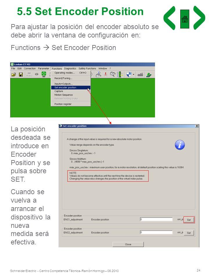 24 Schneider Electric - Centro Competencia Técnica- Ramón Hormigo – 06.2010 5.5 Set Encoder Position Para ajustar la posición del encoder absoluto se