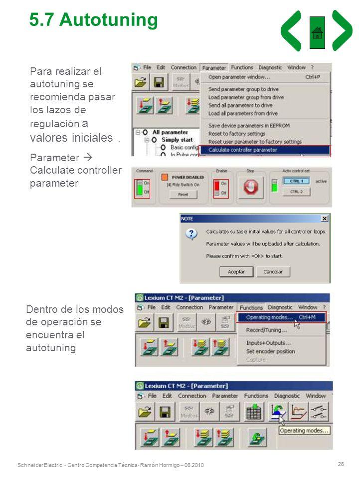 26 Schneider Electric - Centro Competencia Técnica- Ramón Hormigo – 06.2010 Para realizar el autotuning se recomienda pasar los lazos de regulación a