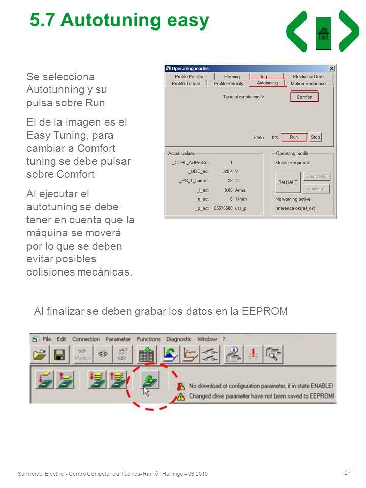 27 Schneider Electric - Centro Competencia Técnica- Ramón Hormigo – 06.2010 Se selecciona Autotunning y su pulsa sobre Run El de la imagen es el Easy
