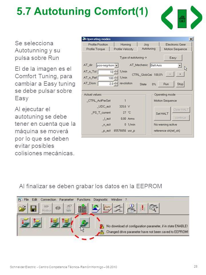 28 Schneider Electric - Centro Competencia Técnica- Ramón Hormigo – 06.2010 Se selecciona Autotunning y su pulsa sobre Run El de la imagen es el Comfo