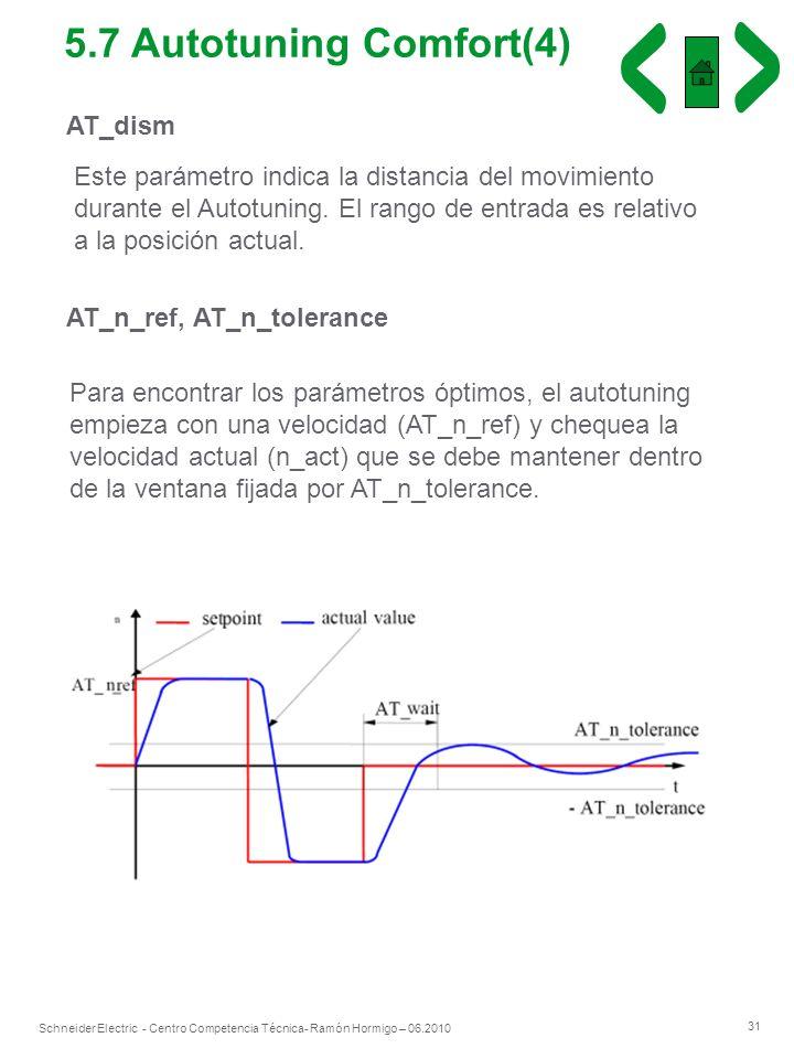 31 Schneider Electric - Centro Competencia Técnica- Ramón Hormigo – 06.2010 AT_dism Este parámetro indica la distancia del movimiento durante el Autot