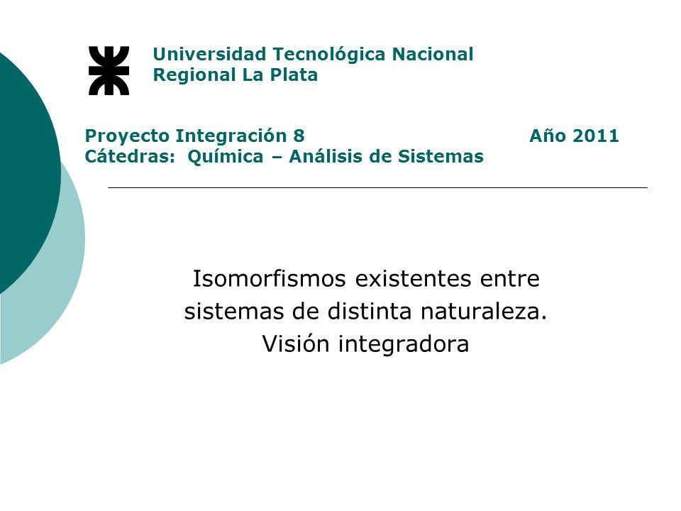 Universidad Tecnológica Nacional Regional La Plata Proyecto Integración 8 Año 2011 Cátedras: Química – Análisis de Sistemas Isomorfismos existentes entre sistemas de distinta naturaleza.