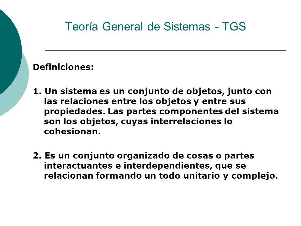 Teoría General de Sistemas - TGS Definiciones: 1.