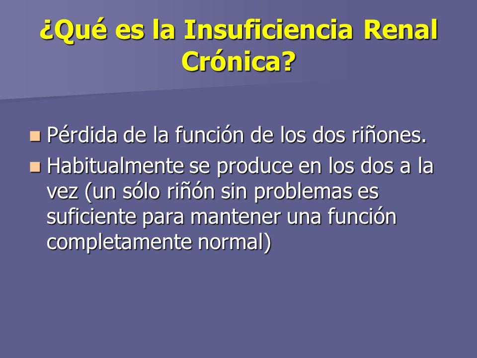 ¿Qué es la Insuficiencia Renal Crónica.Pérdida de la función de los dos riñones.