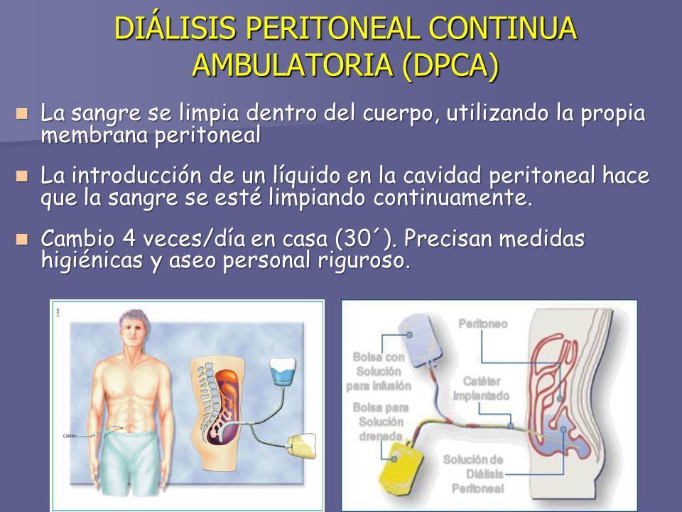 DIÁLISIS PERITONEAL CONTINUA AMBULATORIA (DPCA) La sangre se limpia dentro del cuerpo, utilizando la propia membrana peritoneal La sangre se limpia dentro del cuerpo, utilizando la propia membrana peritoneal La introducción de un líquido en la cavidad peritoneal hace que la sangre se esté limpiando continuamente.
