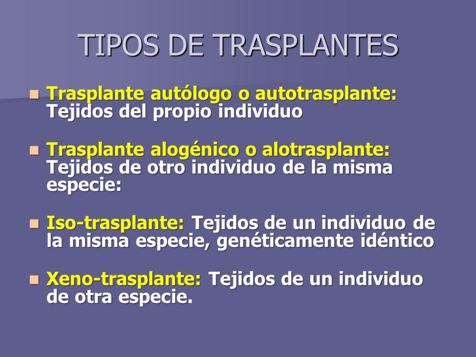 TIPOS DE TRASPLANTES Trasplante autólogo o autotrasplante: Tejidos del propio individuo Trasplante autólogo o autotrasplante: Tejidos del propio individuo Trasplante alogénico o alotrasplante: Tejidos de otro individuo de la misma especie: Trasplante alogénico o alotrasplante: Tejidos de otro individuo de la misma especie: Iso-trasplante: Tejidos de un individuo de la misma especie, genéticamente idéntico Iso-trasplante: Tejidos de un individuo de la misma especie, genéticamente idéntico Xeno-trasplante: Tejidos de un individuo de otra especie Xeno-trasplante: Tejidos de un individuo de otra especie.