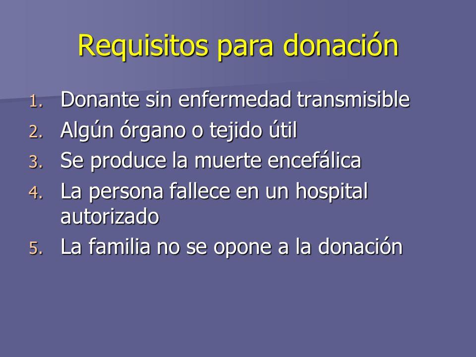 Requisitos para donación 1.Donante sin enfermedad transmisible 2.