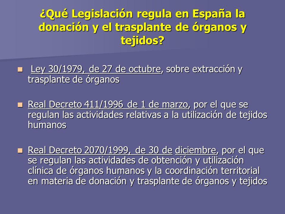 ¿Qué Legislación regula en España la donación y el trasplante de órganos y tejidos.