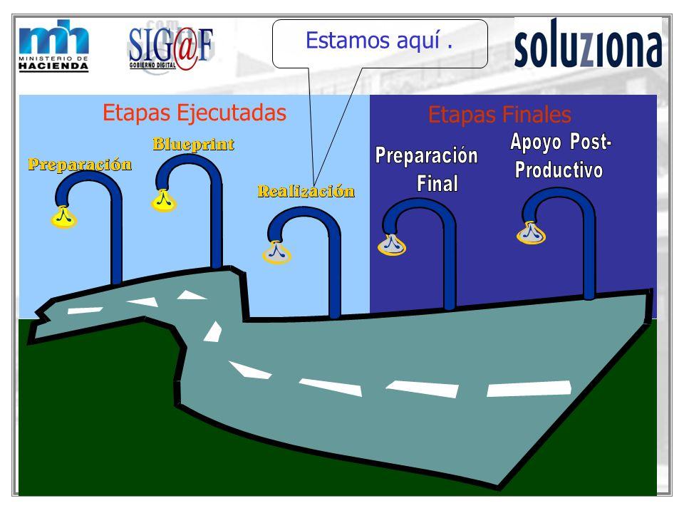 Etapas Ejecutadas Preparación (Organización del Proyecto ) Conclusión Diciembre 2001 Blueprint ( Rediseño de procesos) Conclusión Febrero 2002 Realización ( Parametrización del Sistema ) Conclusión Julio 2002