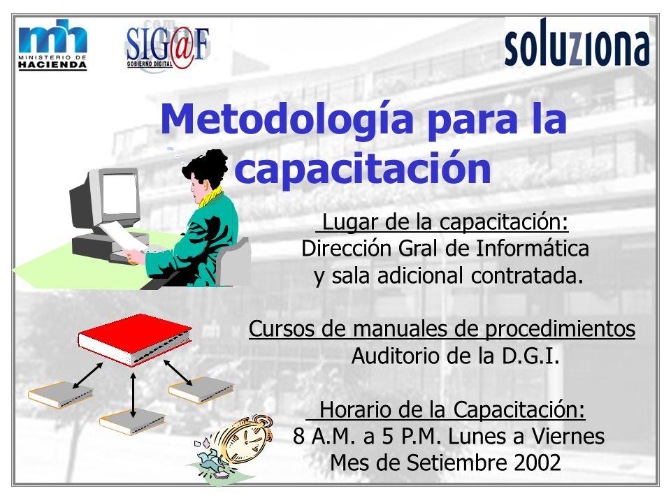 Metodología para la capacitación Lugar de la capacitación: Dirección Gral de Informática y sala adicional contratada. Cursos de manuales de procedimie