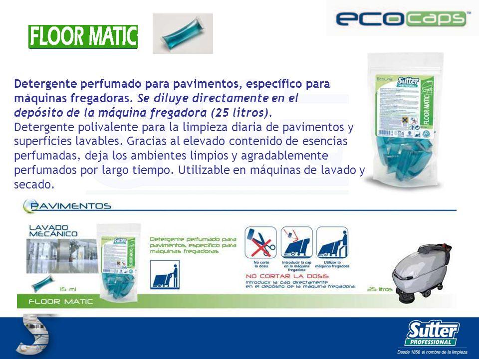 FLOOR MATIC CAPS Detergente perfumado para pavimentos, específico para máquinas fregadoras. Se diluye directamente en el depósito de la máquina fregad
