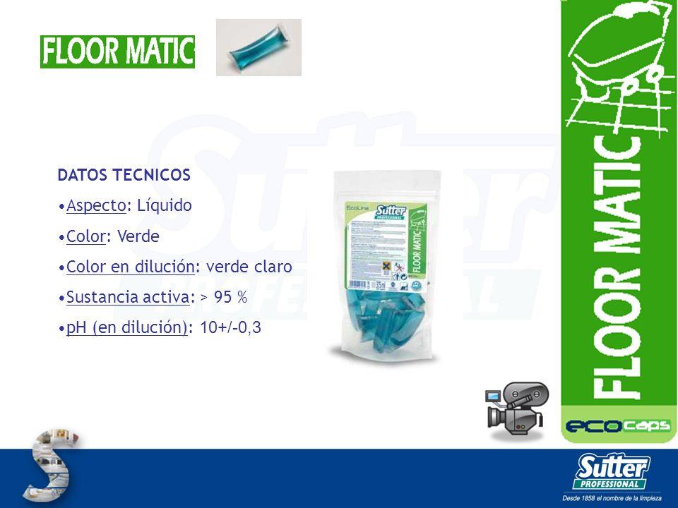 DATOS TECNICOS Aspecto: Líquido Color: Verde Color en dilución: verde claro Sustancia activa: > 95 % pH (en dilución): 10+/-0,3