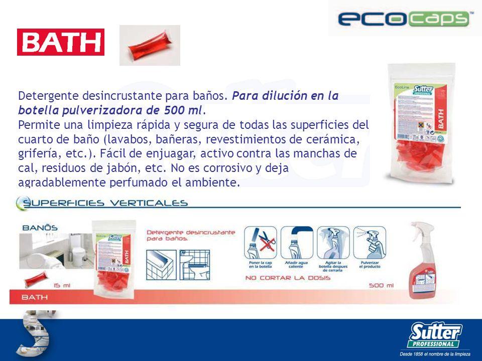 BATH CAPS Detergente desincrustante para baños. Para dilución en la botella pulverizadora de 500 ml. Permite una limpieza rápida y segura de todas las