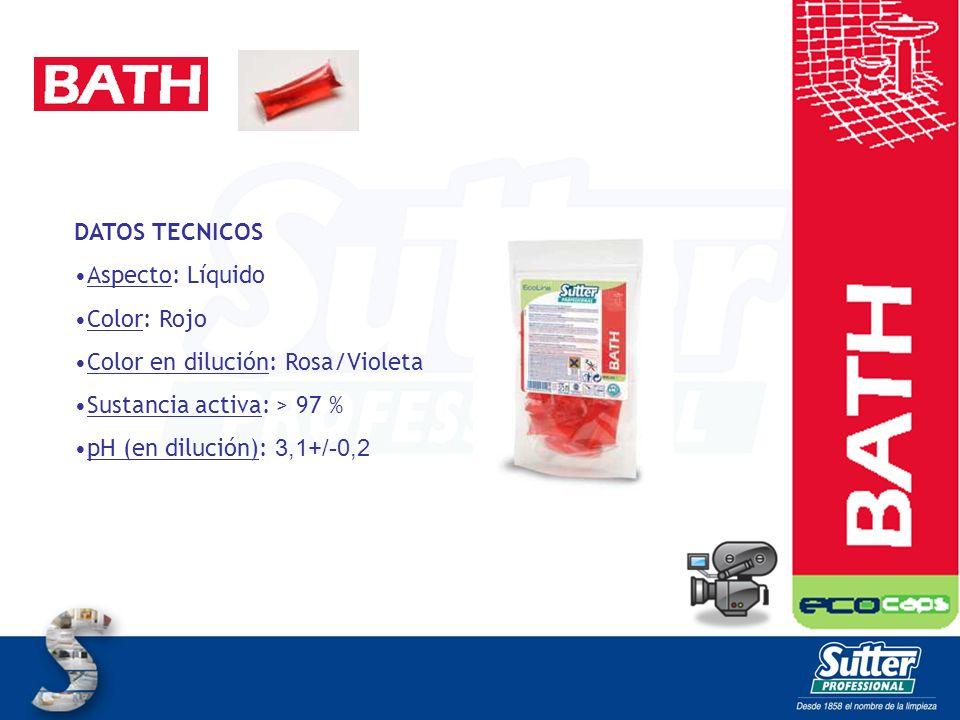 DATOS TECNICOS Aspecto: Líquido Color: Rojo Color en dilución: Rosa/Violeta Sustancia activa: > 97 % pH (en dilución): 3,1+/-0,2